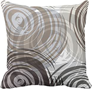 Emvency 抱枕枕套棕褐色螺旋设计复古装饰枕套家居装饰方形 45.72 x 45.72 cm 靠垫枕套 紫色 18 x 18 inch