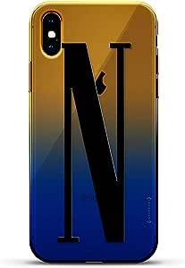奢华设计师,3D 印花,时尚,高端,高端,Chameleon 变色效果手机壳 iPhone Xs MaxLUX-IMXCRM2B-INITIALN3 black Initial N3 Dusk Blue