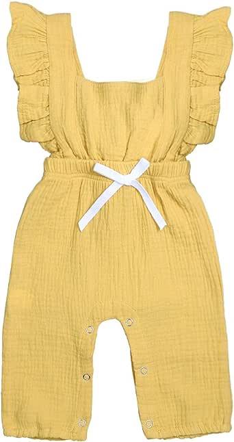TUEMOS Newbron 女婴连体衣褶皱蝴蝶结连体衣夏季套装 黄色 6-12 Months
