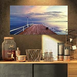 "Pier Under Bright Sky 海景帆布艺术印刷品 黄色 32x16"" PT8401-32-16"