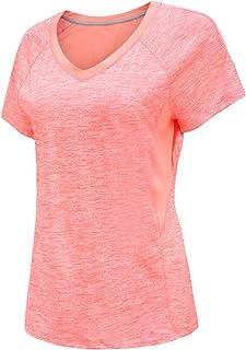 DancingCat 女式锻炼活动加大尺码上衣健身短袖 V 领 T 恤