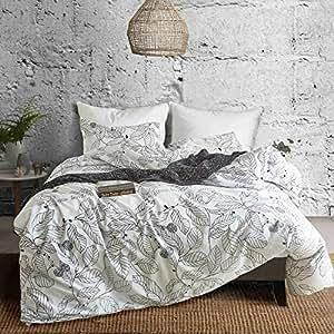 Ammybeddings 柔软被罩套装 3D 印花羽绒被套装 双*床 叶子 2 Queen (duvet cover 90''x90'')