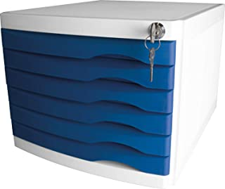 Helit 抽屉盒 The Safe 6 个抽屉可锁 蓝色