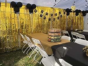 Blukey -Foil-Fringe-Curtain-金属色丝绸照片亭婚礼道具闪光派对背景装饰 金色 12FTx8FT Foil Fringe Curtain