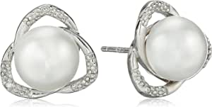 Sterling Silver Button Freshwater Cultured Pearl and Diamond Stud Earrings