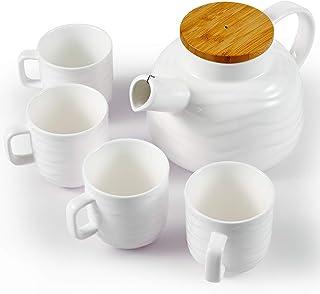 陶瓷茶壶套装带 4 个杯子和木盖,茶具套装带可拆卸不锈钢过滤器用于散开叶和开花茶,礼品套装,750毫升/25盎司茶壶和150毫升/5盎司茶杯,白色
