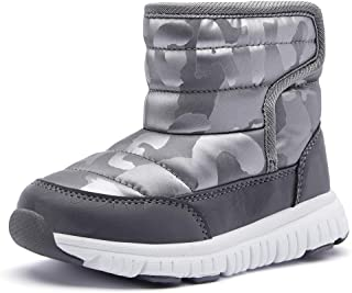 COOJOY 男孩女孩冬季雪地靴防水防滑保暖毛皮内衬寒冷天气户外鞋(幼儿/小童/大童)