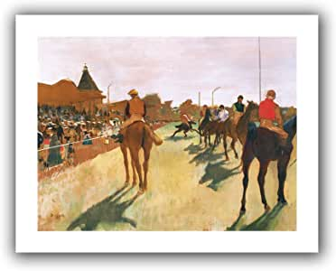 Art Wall 'The Parade or Race Horses in Front of The Stands' Unwrapped Flat Canvas Artwork by Edgar Degas, 28 by 36-Inch