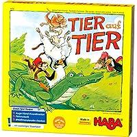 Haba 4478 - 动物叠叠乐,堆叠游戏,适合2-4位玩家,4岁以上儿童,木制动物形象,也可单人进行游戏