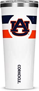 Corkcicle Tumbler - 24oz NCAA 三层保温不锈钢旅行杯,健身房条纹 Auburn University Tigers U2124GW-AUB-GS