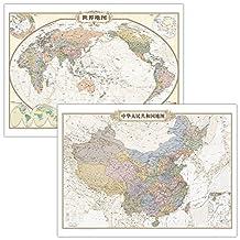 仿古地图挂图--中国+世界(套装组合 1.1米*0.8米)