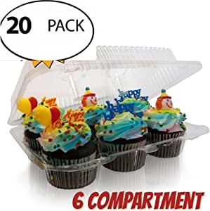 Bakers Pantry 6 隔层,坚固耐用,不含双酚 A,水晶透明塑料,纸杯蛋糕和松饼容器,带有优质铰链盖,透明(套装) Clear, Crystal Clear Cupcake and Muffin 6-Compartment