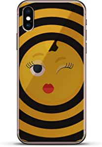 Luxendary Un-Case 系列设计师玻璃背板 iPhone Xs/XLUX-IXGL-EMOJI24 EMOJIS: WINKING EMOJI WITH RED LIPS AND EYELASHES 透明