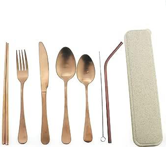 可重复使用的餐具带箱野营旅行银色套装,便携式不锈钢餐具套装 - 哑光餐具套装,叉勺,镜子,吸管筷子 - 适用于办公室午餐、远足、学校 玫瑰金 1010ma4p-straw-rose-pinkcase