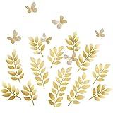 Ling's Moment 大号绉纱纸花装饰,橙桃红色混色. Gold Leaves 大