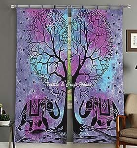 Textile & Craft House Mandala 装饰窗帘,印*安棉门罩 垂坠 房间窗帘 款式-6 82x40 Inches