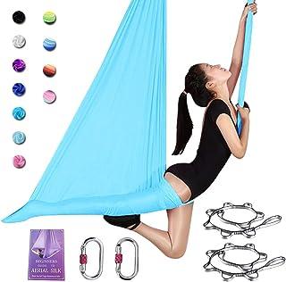SAIVEN 空中丝绸 - 空中瑜伽吊床豪华瑜伽秋千套装适用于瑜伽梯、飞行瑜伽、空中舞蹈(长:5 米 x 宽:2.8 米)