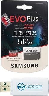 Samsung Evo Plus 512GB Micro SDXC 内存卡 Class 10 适用于安卓手机 - Galaxy A51、A50、A40、A30 (MB-MC512G) 捆绑带 (1) Everything But Stromboli MicroSD & SD 读卡器