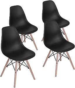 HOMY CASA 餐厅椅 中世纪现代风格 Eames 餐厅椅 座椅 高度天然木腿 无扶手椅 适用于厨房、餐厅、卧室、起居室颜色,4 件套