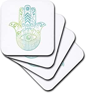3dRose cst_217282_2 Hamsa Hand Green & Blue Watercolor Soft Coasters, (Set of 8)