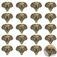 PGMJ 20 件复古设计装饰木盒腿,大象后备箱设计珠宝盒腿五金件用于复古木盒、橱柜、礼品盒、工具盒、珠宝盒、酒盒 青铜色