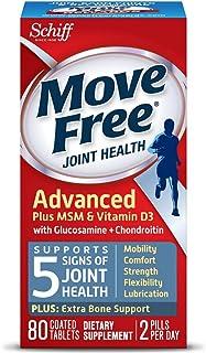 MoveFree 升级版+MSM和维生素D3,80片 - 氨基葡萄糖和软骨素的关节健康补充品