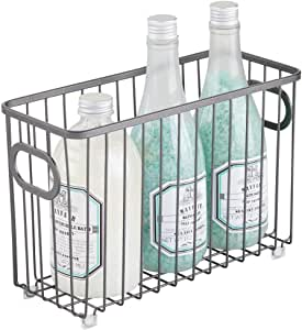 mDesign 金属浴室储物收纳篮 - 农舍线网格设计 - 适用于橱柜、搁架、壁橱、梳妆台、卧室、下水槽 - 小号 石墨色 1包 05931MDBST