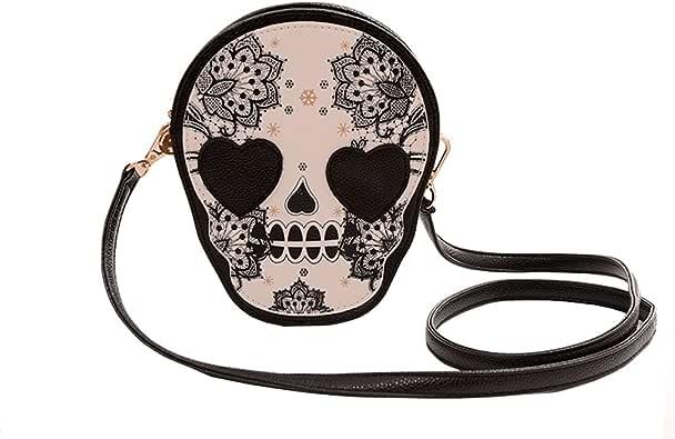 Neevas 时尚 PU 皮革手提包骷髅设计女士女孩复古邮差包