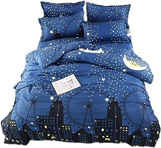 SFJ-CA 被套套装单人床尺寸星月亮印花床上用品套装,太空主题儿童床上用品柔软超细纤维被套带枕套,适合男孩女孩儿童(3 件) City Queen SFJ005DC-PP200*230us