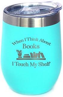 Touch My Shelf - 带滑盖的葡萄酒杯 - 无柄不锈钢保温杯 - 阅读和书籍爱好者户外马克杯 蓝*