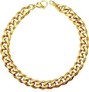 "U7 男士女士古巴链式手链|不锈钢18K镀金钻石切割 3mm 5mm 6mm 7mm 9mm 12mm 宽迈阿密锁链手腕手链,长度 6.5"" 7.5"" 8.25"" 带礼品盒 02.Gold- 3MM Wide"