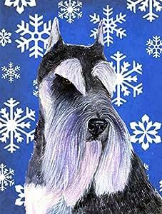 Schnauzer Winter Snowflakes Holiday Flag 多色 小号