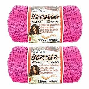 2 包 Bonnie Macramé 线 - 4 毫米 - 100 码长 - 各种颜色 Azalea 粉红色 2PK-BNC4MM-AZELAPNK-~CRAFT_TS62818