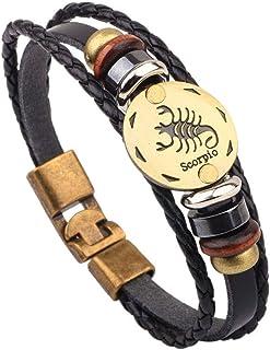 CLY Jewelry Horoscope 星星标铜盘多层皮革编织缠绕手链 男式女士
