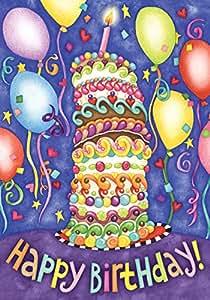 托兰家庭花园生日快乐 71.12cm x 101.6cm 装饰彩色蛋糕派对气球屋旗