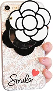 iPhone 软壳优雅 Camellia 花朵旋转镜子 IPLUS 透明蕾丝保护 TPU 软壳保护套适用于 Apple iPhone 白色 Camellia iPhone 8 Plus/7 Plus ZCH-SCH