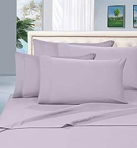 Elegance Linen ® 1500 系列奢华柔滑抗皱床单 4 件套,袋深高达 40.64 cm - 所有尺寸和颜色 淡紫色 全部 COMINHKR040913