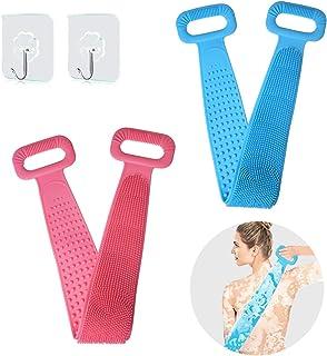 OICGOO 淋浴硅胶背部刷子 适用于淋浴,手柄沐浴露,去角质纹理擦洗垫沐浴刷