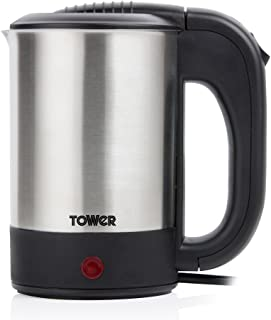 Tower T10026 带两个杯子的旅行水壶,煮沸干燥保护,双电压,隐藏加热元件,紧凑轻巧,不锈钢,0.5 升,650 瓦,银色