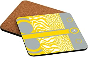 """Rikki Knight """"A"""" Initial Freesia Yellow - Leopard Zebra Design Cork Backed Hard Square Beer Coasters, 4-Inch, Brown, 2-Pack"""