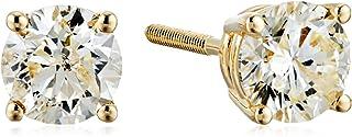 [Amazon Collection] Amazon Collection 14K金 黄金 附带螺旋后导柱 钻石 螺柱耳钉(0.7ct J-K颜色、I2-I3透明度) ERBYG-075-OBS