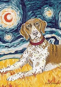 Toland Home Garden Van Growl German Shorthaired Pointer 28 x 40 Inch Puppy Dog Portrait Starry Night House Flag