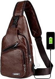 Peicees 皮革單肩包 w/USB 充電胸部斜挎背包 男式 Style1-dark Brown Mid Size