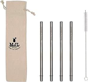 更*的圆端不锈钢金属吸管,适用于大杯、高玻璃或夸脱梅森罐,4 包 + 清洁刷 亮灰色 中