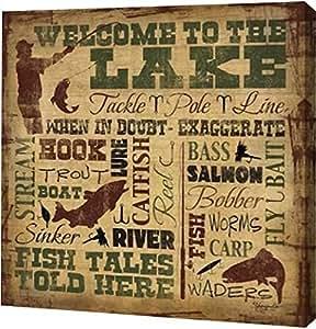 "PrintArt Welcome to The Lake-Fishing 20"" x 20"" GW-POD-48-SE1110-20x20"