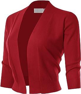MAYSIX APPAREL 七分袖純色開襟開衫 女式 (S-XL)