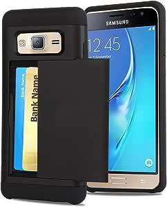 GALAXY J3手机壳 casetop [ EASY 显示卡 Access ] sliding 后门名片夹钱包式手机壳–混合 TPU 手机壳 PC 外壳–适用于 SAMSUNG GALAXY J3/ EXPRESS PRIME / AMP PRIME  黑色
