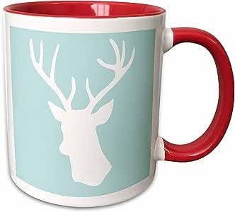 3dRose InspirationzStore Deer 设计 - 薄蓝色白色鹿头轮廓 - stag antlers - 时尚现代柔和蓝绿色青绿色水绿色 - 马克杯 红色/白色 15-oz Two-Tone Red Mug mug_155672_10