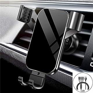 MAOBLOG 车载支架通用通风口重力手机支架自动锁光滑镜面简易夹支架适用于 iPhone 11 / XS / XR / X / 8 / 7,三星 Galaxy S10 / S9 / S8 / S7 和其他手机(提供数据线)。 (黑色)