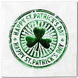 """快乐圣帕特里克节硬币 100 张和 50 个装一次性派对餐巾纸,12.7 x 12.7 cm 折叠,特殊场合 WHITE GREEN C50 5"""" x 5"""""""